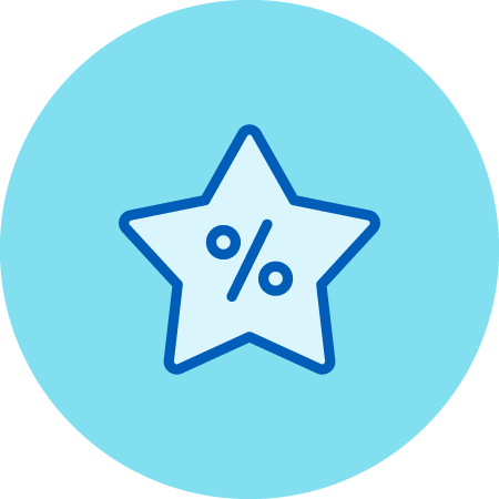 Percentage Character Inside a 5-Point Star Icon