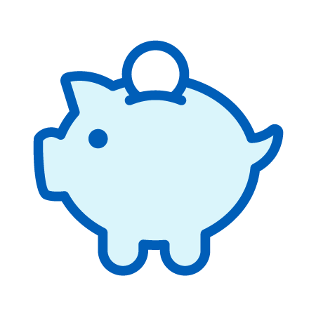 Piggy Bank with Coin Being Inserted Icon