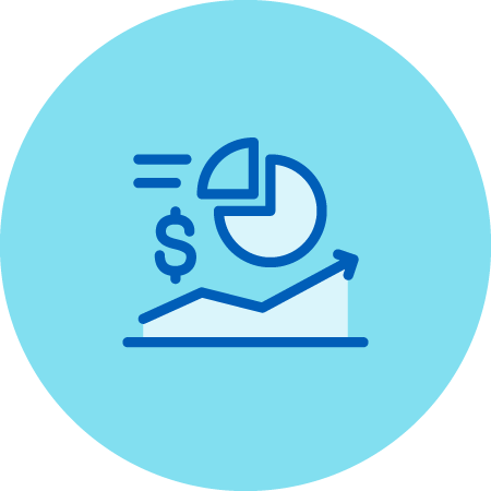 Stock Market Graphic, Piechart, and Dollar Sign Icon